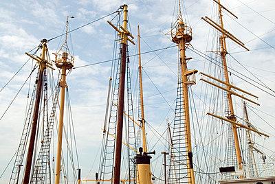 Historic Ship Masts, South Street Seaport, New York City - p5690124 by Jeff Spielman