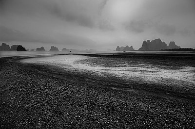 View over the beach and Bai Tu Long Bay from Van Don Island - p934m893254 by William Brantingham photography