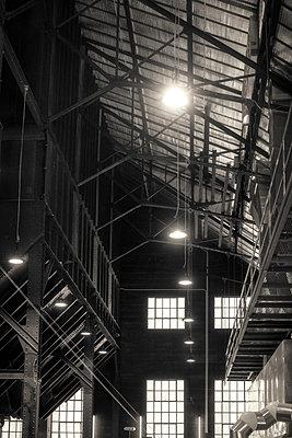 Stahlkonstruktion in einer alten Fabrik - p1154m1462073 von Tom Hogan