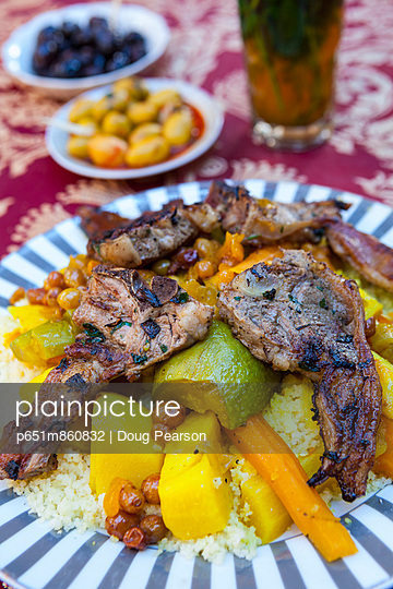 Lamb Cous Cous, The Medina, Fes, Morocco - p651m860832 by Doug Pearson photography