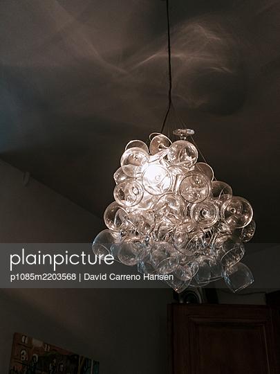Wine glasses as ceiling lamp - p1085m2203568 by David Carreno Hansen