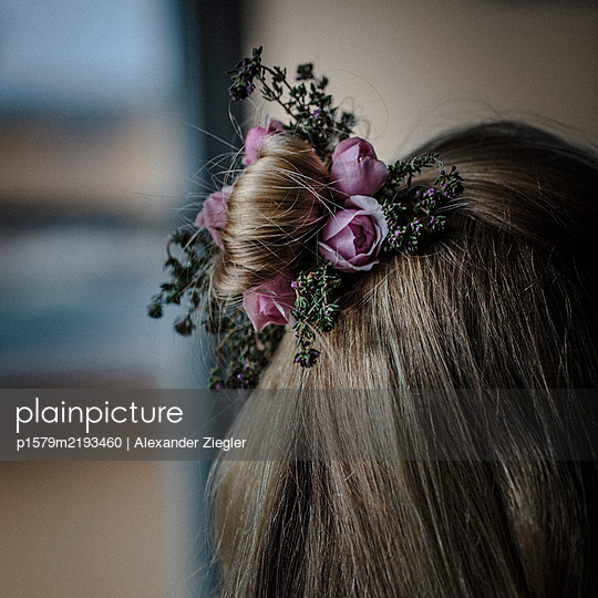 Roses and heather in hair - p1579m2193460 by Alexander Ziegler