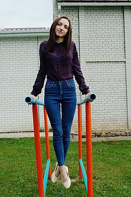 The girl on the gymnastic bars - p1412m2007962 by Svetlana Shemeleva