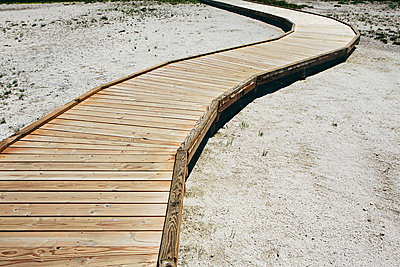 A boardwalk extending across Midway Geyser in Yellowstone National Park.  - p1100m875955f by Paul Edmondson