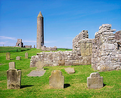 Co Fermanagh, Devenish Island 12c Round, Tower Augustinian Abbey - p4428865 by The Irish Image Collection