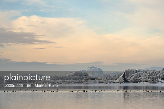 Silhouettes of birds swimming in Lake Constance with Hohentwiel volcano in distant background - p300m2251156 by Markus Keller