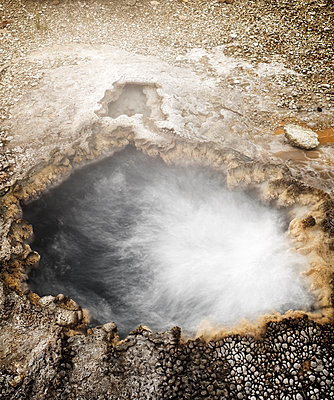 High angle view of hot spring at Yellowstone National Park - p1166m1532295 by Cavan Social