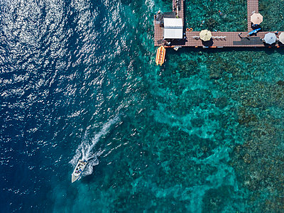Aerial view, Pier and boat - p1108m2090336 by trubavin