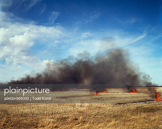 A fire burns in a field on the Canadian prairies near Conquest, Saskatchewan, Canada. - p343m965000 by Todd Korol