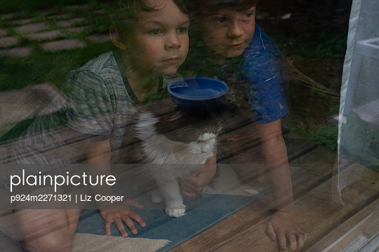 Canada, Ontario, Brothers (4-5, 6-7) cuddling cat and looking through window - p924m2271321 by Liz Cooper