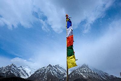 Gebetsfahnen mit Bergkette im Hintergrund - p817m1586766 von Daniel K Schweitzer