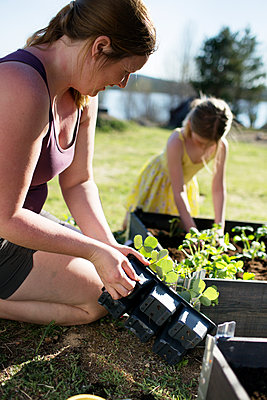 Mother with daughter gardening - p312m1495275 by Fredrik Ludvigsson