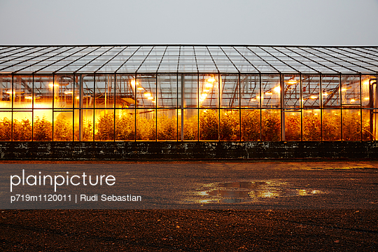 Illuminated greenhouse - p719m1120011 by Rudi Sebastian