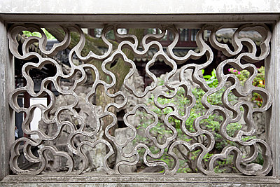 China, shanghai, pattern in wall at yu garden - p9244872f by Image Source
