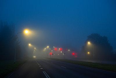 Rote Ampel im Nebel - p1132m2230149 von Mischa Keijser