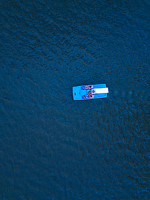 Pedal boat on the water, drone photography - p1108m2210616 by trubavin