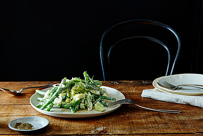 chopped salad with yogurt dressing and bottarga - p1379m1525425 by James Ransom
