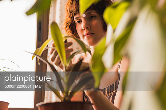 Woman touching houseplant at home - p300m2290681 by Mar