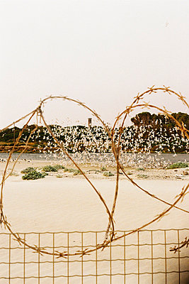 Barbed wire fence surrounding a high security area - p967m758433 by Wessel Wessels