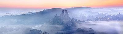 Corfe Castle in the mist, Corfe, Dorset, England, United Kingdom, Europe - p871m1107285 by John Alexander
