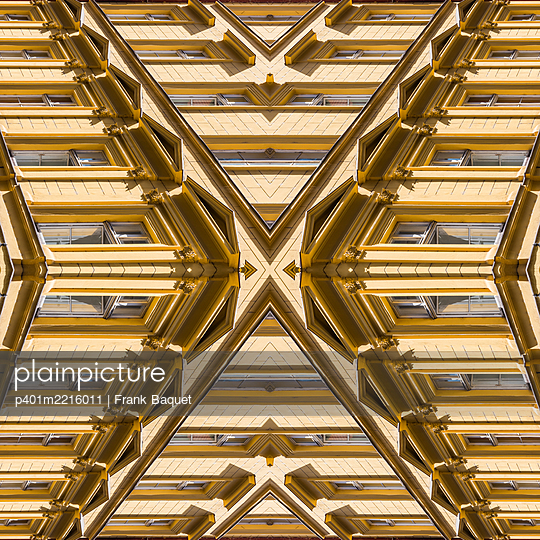 Abstract Architecture Kaleidoscope of an Art Nouveau façade in Prague - p401m2216011 by Frank Baquet