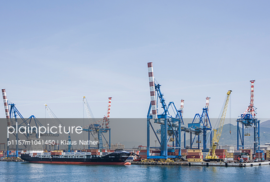 Naples container harbor - p1157m1041450 by Klaus Nather