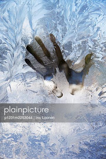 Abdruck einer Hand an gefrorenem Fenster - p1231m2253044 von Iris Loonen