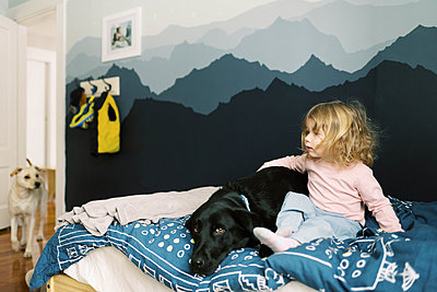 A little girl and her dogs. - p1166m2157449 by Cavan Images