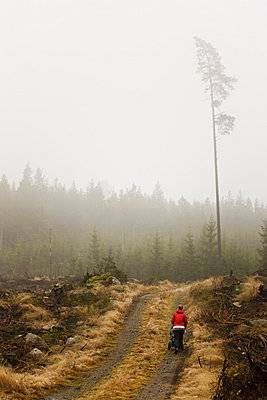 Scandinavian Peninsula, Sweden, Skåne, Småland, Woman walking on dirt track - p5755508f by Peter Rutherhagen