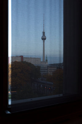 View of the Television Tower from a window, Berlin, Germany - p1062m1172158 by Viviana Falcomer
