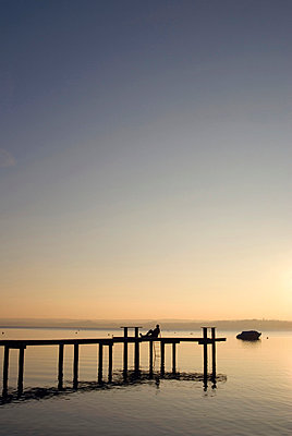 Germany, Bavaria, Ammersee, afterglow - p3005067f by Ulrich Matuschowitz