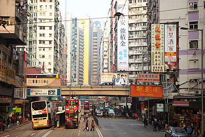 Busy street scene, hong kong, china - p924m699211f by Ryan Benyi Photography