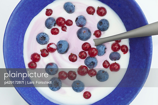 Close up of blueberries and yogurt - p42917287f by Lars Forsstedt