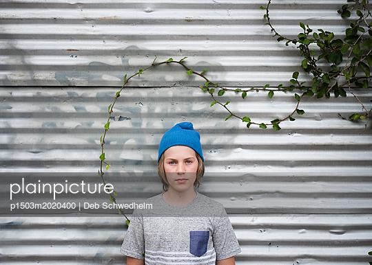 Boy with Vine - p1503m2020400 by Deb Schwedhelm