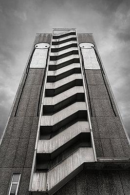 Stickmen street art on tower block - p1280m2205542 by Dave Wall