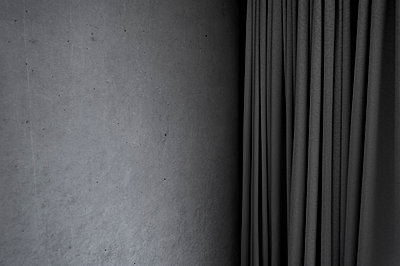 Curtain in front of concret wall - p1523m2082438 by Nic Fey