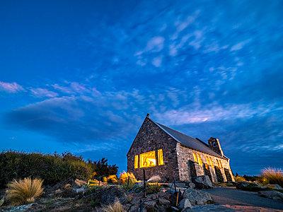 New Zealand, South Island, Canterbury Region, Church of the Good Shepherd at twilight - p300m2013045 by Stefan Schurr