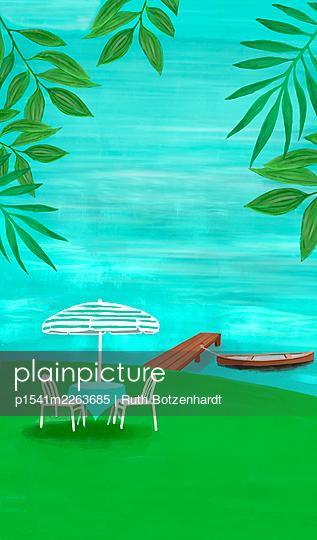 Illustration, Garden idyll - p1541m2263685 by Ruth Botzenhardt