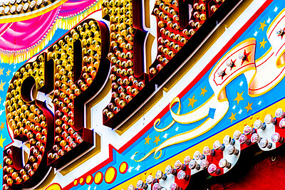 Funfair, Neon sign - p1523m2071444 by Nic Fey