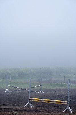 Anlagen zum Springreittraining im Fruehnebel - p739m1463396 von Baertels