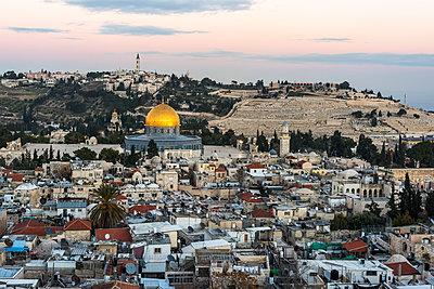 View of the Old City of Jerusalem and Temple Mount; Jerusalem, Israel - p442m1449202 by Keith Levit
