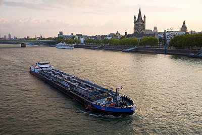 Barge on German river - p555m1480189 by Tom Paiva Photography