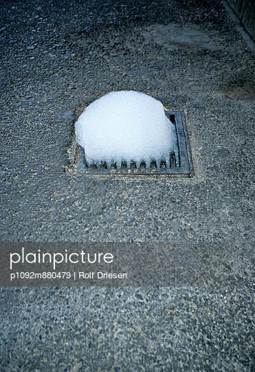 Foam at a drain - p1092m880479 by Rolf Driesen