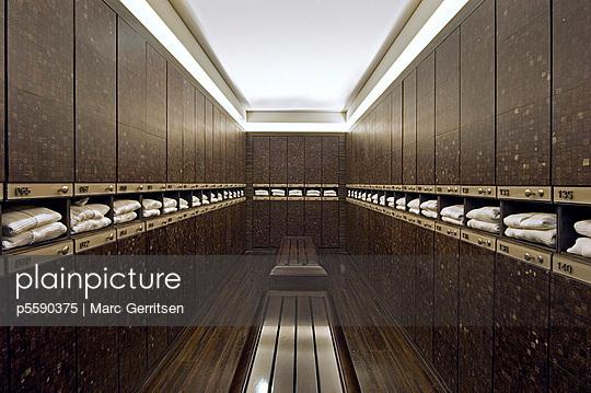 Rows of lockers in modern locker room - p5590375 by Marc Gerritsen
