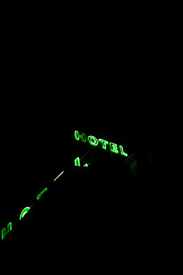 Hotel at night - p1028m1118900 by Jean Marmeisse
