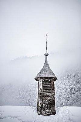 France, Bell tower under the snow - p1007m2216549 by Tilby Vattard