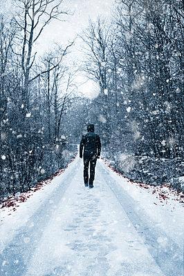 Schneespaziergang im Wald - p470m2064976 von Ingrid Michel