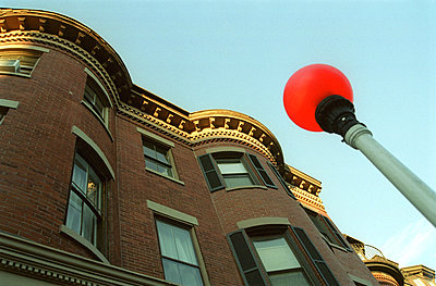 Building and red Street Lamp - Boston - Massachusetts - USA  - p4900558 by Jan Mammey