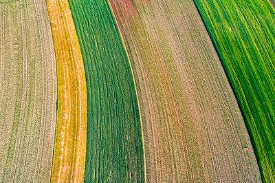 Germany, Baden-Wuerttemberg, Rems-Murr-Kreis, Aerial view of fields - p300m1588038 by Stefan Schurr