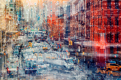 City traffic, New York City, multiple exposure - p1640m2245930 by Holly & John